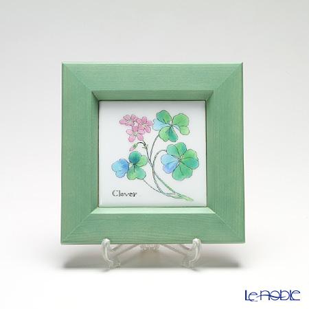 Enamel Cloisonne / Kyoto Shippo Art 'Herbal Collection - Clover' Panel / Plaque 17x17cm