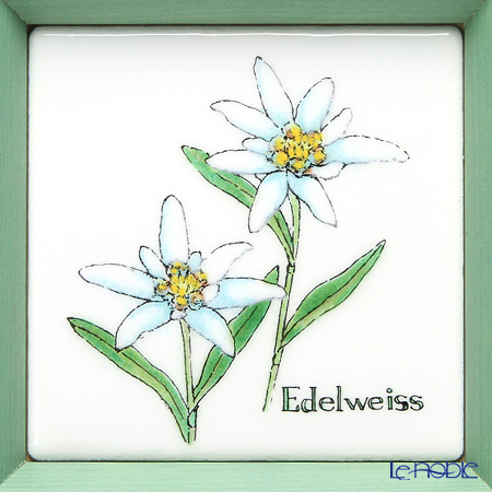 Enamel Cloisonne / Kyoto Shippo Art 'Herbal Collection - Edelweiss' Panel / Plaque 17x17cm