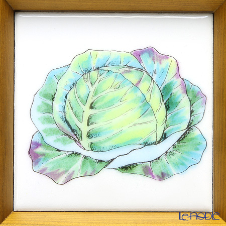 Enamel Cloisonne / Kyoto Shippo Art 'Vegetable Collection - Cabbage' Panel / Plaque 17x17cm