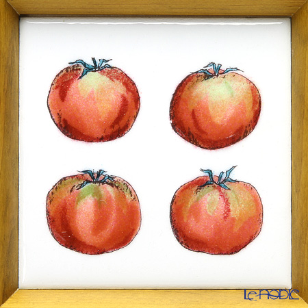 Enamel Cloisonne / Kyoto Shippo Art 'Vegetable Collection - Tomato' Panel / Plaque 17x17cm