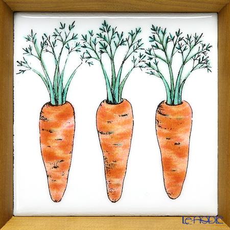 Enamel Cloisonne / Kyoto Shippo Art 'Vegetable Collection - Carrot' Panel / Plaque 17x17cm