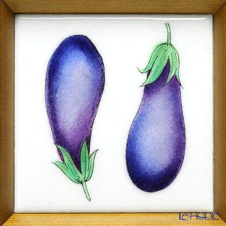 Enamel Cloisonne (Kyoto Shippo Art) Vegetable Collection - Eggplant 16.8x16.8cm