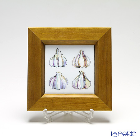 Enamel Cloisonne / Kyoto Shippo Art 'Vegetable Collection - Garlic' Panel / Plaque 17x17cm