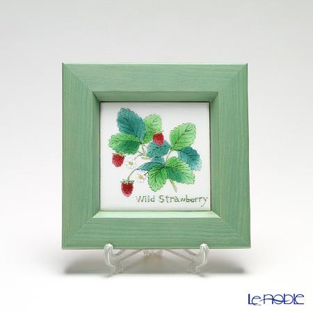 京七宝額(アートSHIPPO) ハーブ ワイルドストロベリー 額グリーン 16.8×16.8cm
