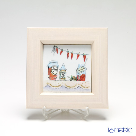 EEnamel Cloisonne / Kyoto Shippo Art 'Kitchen Collection - Jam Jar' Panel / Plaque 17x17cm