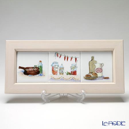 京七宝額(アートSHIPPO) キッチン 3ピース 横並び 額アイボリー 37×16.8cm