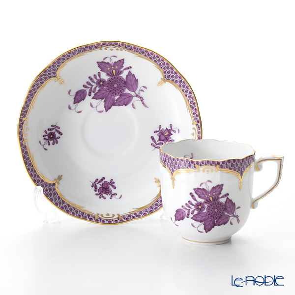 Herend Chinese Bouquet Lilac Fishnet / Apponyi Lilas Ecaille AL-EL 00707-0-00 Mocha Cup & Saucer 150ml