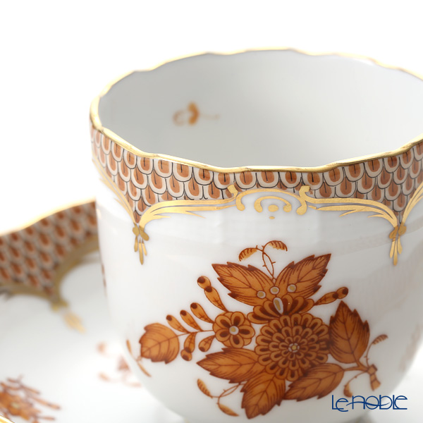 Herend 'Chinese Bouquet Marron Yellow Fish scale / Apponyi Ecaille' AM-EM 00707-0-00 Mocha Coffee Cup & Saucer 150ml