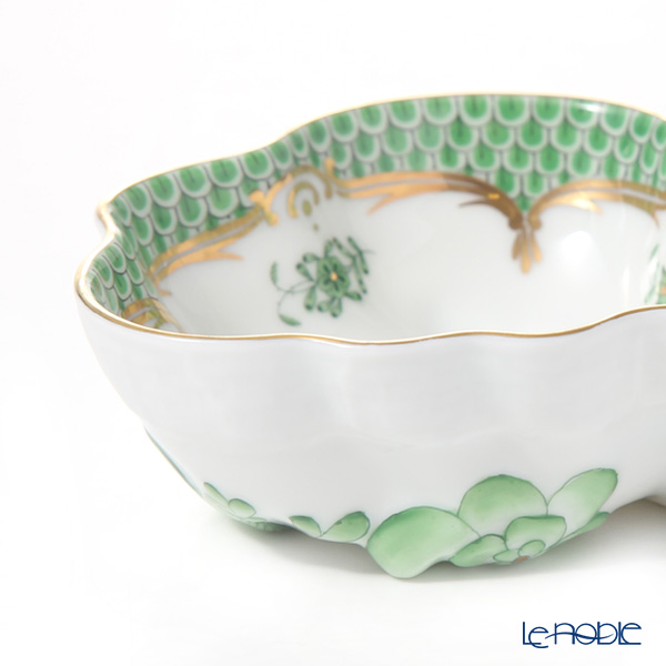 Herend Chinese Bouquet Green Fishnet / Apponyi Vert Ecaille AV-EV 00492-0-00 Sugar Bowl (Leaf shape) 10.5cm