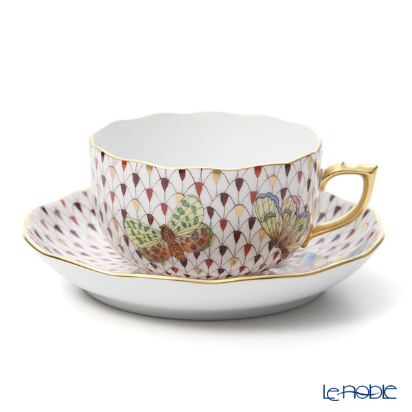 Herend 'Felicity (Butterfly) Multicolor Fish scale & Gold / Vieux Herend Special' VHSP18VT [LE200] Tea Cup & Saucer, Plate, Tea Pot, Sugar Pot, Creamer, Tea Tray (set of 8 for 2 persons, Twisted knob)