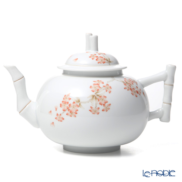 Herend 'Cherry Blossom' CERIG [LE100] Tea Cup & Saucer, Plate, Tea Pot, Sugar Pot, Creamer (set of 7 for 2 persons / Bamboo handle, knob)