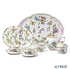 Herend 'Victoria Of Crown / Queen Victoria Limited Edition' VICTVT [LE200] Tea Cup & Saucer, Plate, Tea Pot, Sugar Pot, Creamer, Tea Tray (set of 8 for 2 persons, Crown knob)