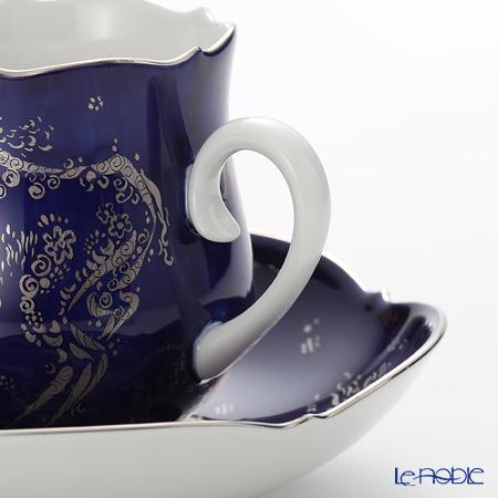 マイセン(Meissen) コバルトプラチナ 681790/23582コーヒーカップ&ソーサー 150cc Motif1