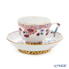Herend 'Ranorder (Peony Flower)' RAN 03364-0-21 Tea Cup & Saucer (Mandarin handle / openwork) 200ml