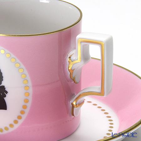 Augarten 'Mozart' Pink [Habsburg shape] Mocha Coffee Cup & Saucer
