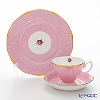 Royal Albert 'Candy - Sweet Stripe' Pink Tea Cup & Saucer, Plate (set of 2 for 1 person)