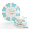 Royal Albert '100 Years Of Royal Albert - 1930 Mint Deco New' Turquoise Blue Tea Cup & Saucer, Plate (set of 2 for 1 person)