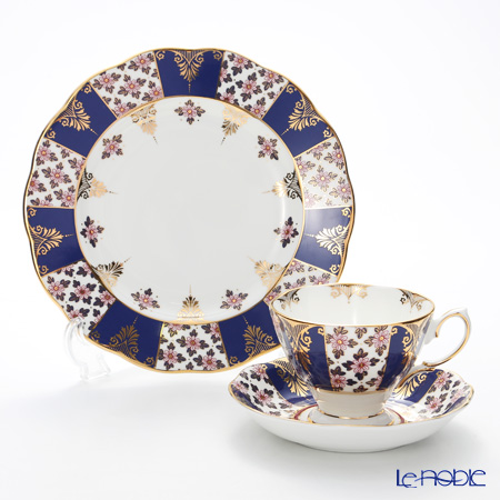Royal Albert 100 Years Of Royal Albert 1900 Regency Blue 3-Piece Set, NEW