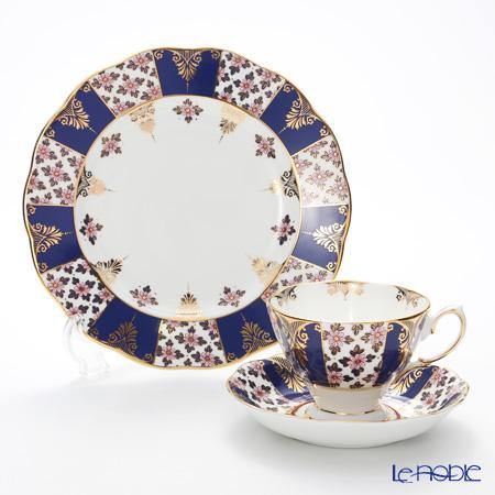Royal Albert '100 Years Of Royal Albert - 1900 Regency Blue New' Tea Cup & Saucer, Plate (set of 2)