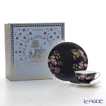 Wedgwood 'Tea Garden - Blackberry & Apple' Purple Tea Cup & Saucer, Plate (set of 2 for 1 person)
