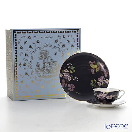 Wedgwood 'Tea Garden - Blackberry & Apple' Purple Tea Cup & Saucer, Plate (set of 2 for 1 person)