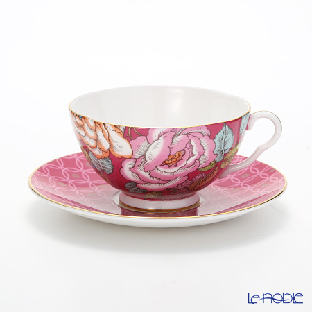 Wedgwood 'Tea Garden - Raspberry' Red Tea Cup & Saucer