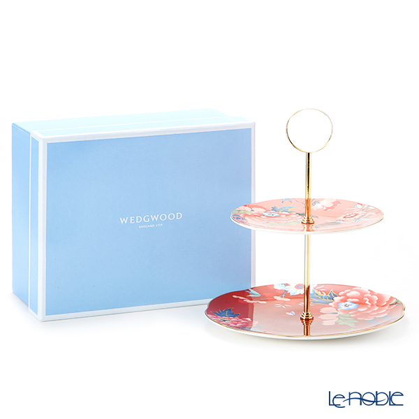 Wedgwood 'Paeonia Blush' Red & Coral Pink Two-Tier Cake Stand
