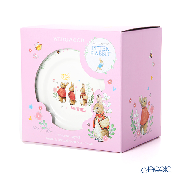 Wedgwood Peter Rabbit Pink 3-piece set Mug & Plate Bowl with brand box