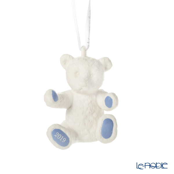 Wedgwood 'Christmas - Baby's First Christmas (Teddy Bear)' White x Blue [2019] Ornament H7.5cm