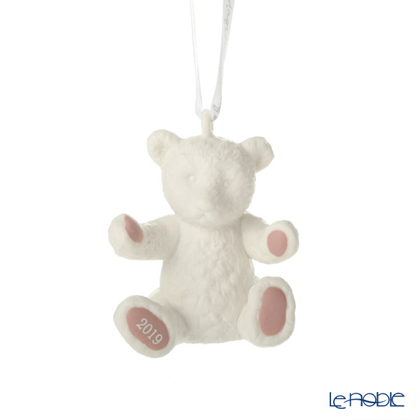 Wedgwood 'Christmas - Baby's First Christmas (Teddy Bear)' White x Pink [2019] Ornament H6.5cm