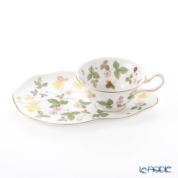 Wedgwood 'Wild Strawberry Gold' Peony Tea Cup & Hostess Tray 200ml