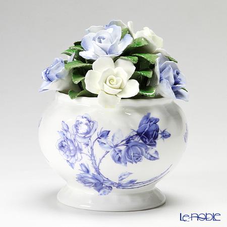 エインズレイ 陶花 エリザベスローズブルー カスケードボウル ミディアム 14.5cm