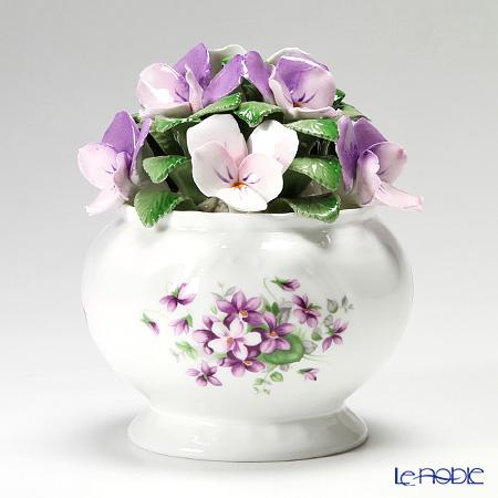 エインズレイ 陶花 イングリッシュ バイオレットカスケードボウル ミディアム 14.5cm