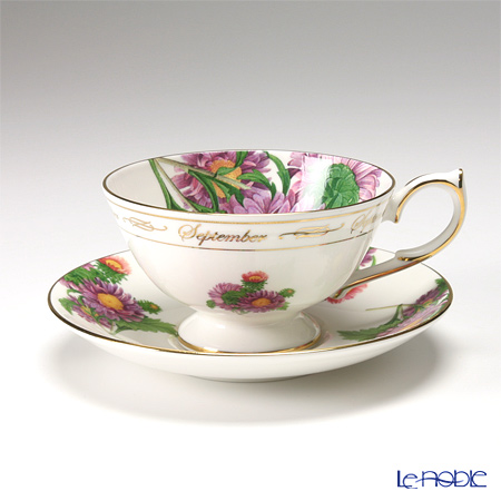 Aynsley Flower of the Month Tea Collection - September Athens Tea Cup & Saucer, Chrysanthemum