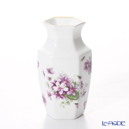 エインズレイ イングリッシュバイオレットヘキサゴンバドベース(花瓶) 11cm