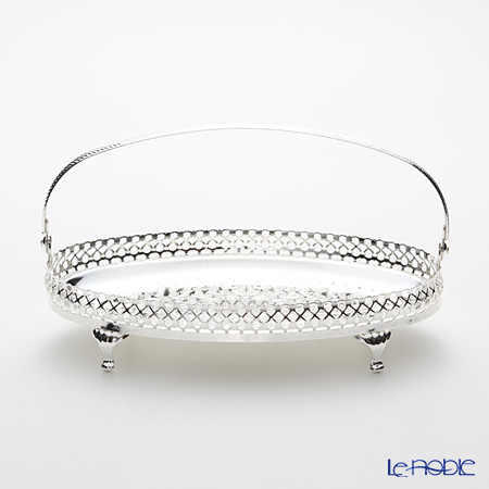 Queen Anne / Silver Plated '0/6853' Oval Gallery Tray with swing handle & legs 23.5x14cm