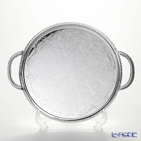 クイーン アン QUEEN ANNE(イギリス製銀メッキ)ギャラリー ラウンドトレイ ハンドル付 28cm 0/6394