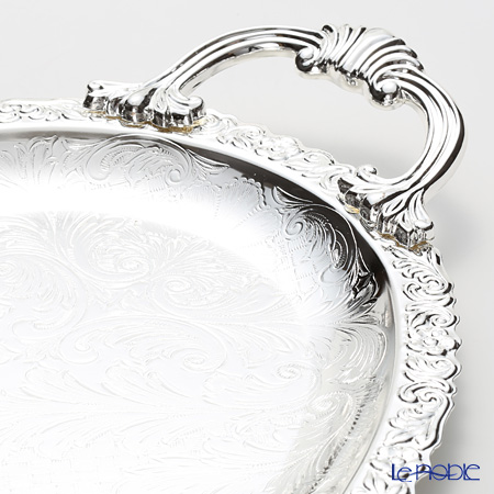 Queen Anne / Silver Plated '0/6161' Oval Tray with cast handles 48x27cm