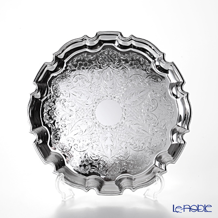 クイーン アン QUEEN ANNE(イギリス製銀メッキ) チッペンデールトレイ M 24cm 0/6181
