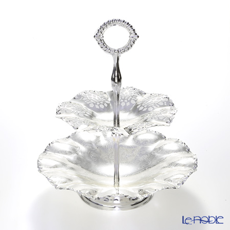 Queen Anne / Silver Plated '0/6375' 2 Tier Wavy Edge Cake Stand H26cm
