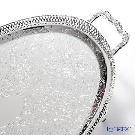 Queen Anne / Silver Plated '0/6333' Oval Gallery Tray with handles & legs 47x26cm