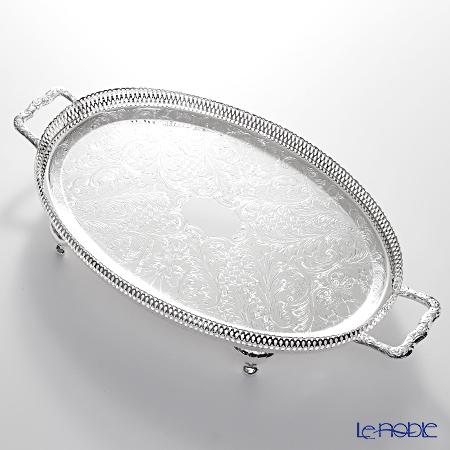 クイーン アン QUEEN ANNE(イギリス製銀メッキ) ギャラリー オーバルトレイ ハンドル・脚付 0/6333