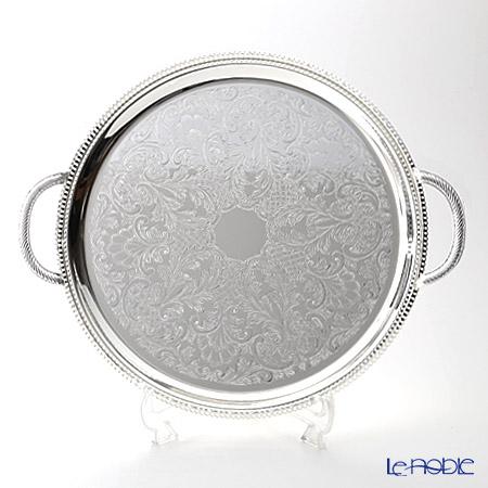 クイーン アン QUEEN ANNE(イギリス製銀メッキ)ギャラリー ラウンドトレイ ハンドル付 35cm 0/6392