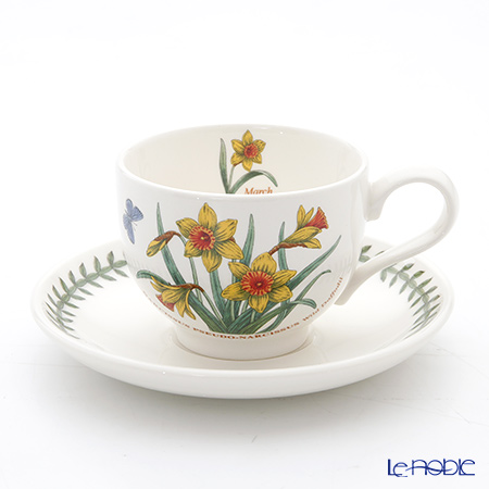 Portmeirion Botanic Garden Flower of the Month March Teacup and Saucer, Wild Daffodil