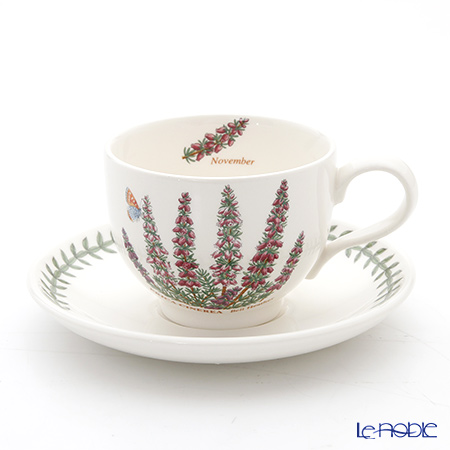 Portmeirion Botanic Garden Flower of the Month November Teacup and Saucer, Bell Heather