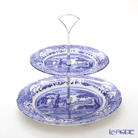 Spode 'Blue Italian' 2-Tier Cake Stand H24cm