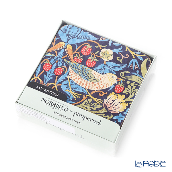Pimpernel 'Strawberry Thief by William Morris' Blue Coaster 10.5x10.5cm (set of 6)