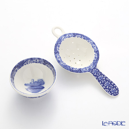 Spode Blue Italian Tea Strainer and Rest