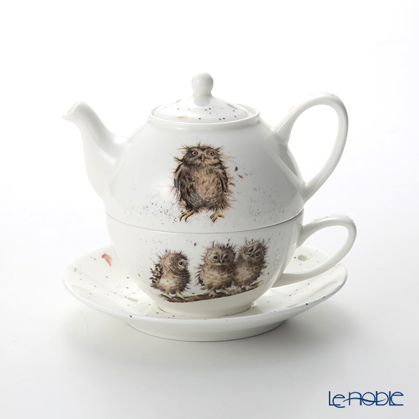 Royal Worcester 'Wrendale' What a Hoot (Owl / Bird) Tea for One / Cup & Saucer & Pot