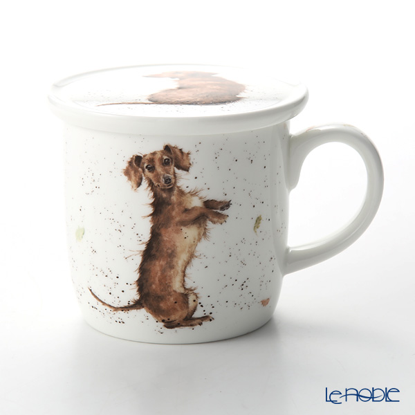 Royal Worcester 'Wrendale' Hello Sausage (Dachshund / Dog) Mug with lid (Coaster) 330ml